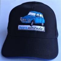 Casquette de qualité noire avec bordure bleue et  logo Dyane bleu brodé en France