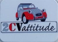 Mini magnet 2cv grise et rouge