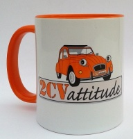 Mug  panorama 2cv orange. Intérieur et hanse orange