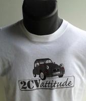 T-shirt 2CV blanc logo gris centre