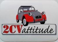 Vinyle brillant 2CV grise et rouge