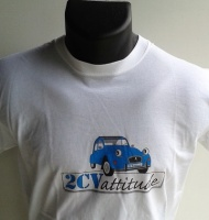 T-shirt blanc avec logo bleu au centre