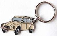 Porte clé métal Dyane beige