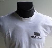 T shirt blanc logo gris en coeur  et logo gris centre dos