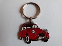 Porte clés 2cv metal  avec logo rouge  haute finition