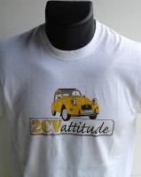 T-shirt 2CV blanc logo jaune centre