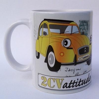 Mug  panorama 2cv jaune avec décor