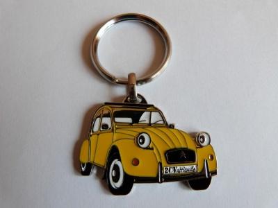 Porte clé 2cv metal avec logo jaune haute finition