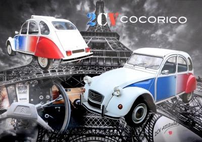 Set de table 2cv Cocorico avec tour Eiffel