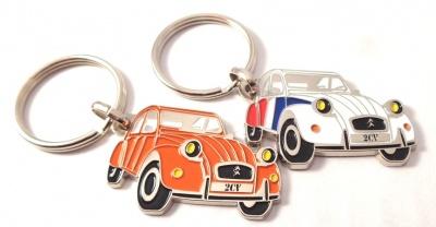Portes clé 2cv metallique 2cv Cocorico et 2cv orange